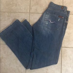 7 For All Mankind Bootcut Jeans Jewels Back Pocket